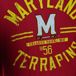 Old Varsity Brand Shirts - Maryland Terrapins Thermal Waffle Knit Red Shirt